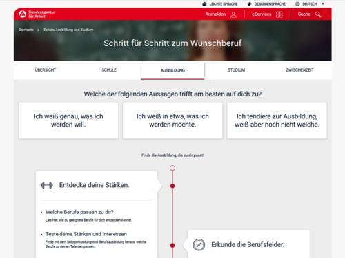 Vorschau auf www.arbeitsagentur.de/bildung/ausbildung