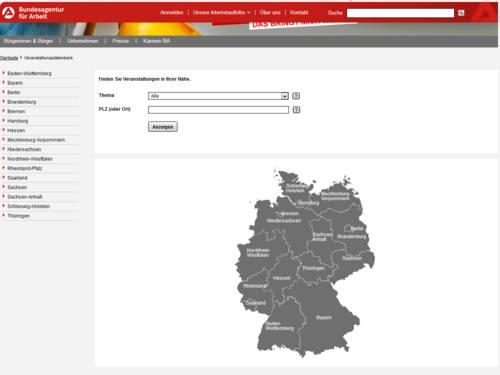 Vorschau auf die Veranstaltungsdatenbank auf arbeitsagentur.de