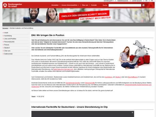 Vorschau auf arbeitsagentur.de – Zentrale Auslands- und Fachvermittlung (ZAV)