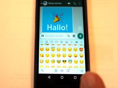 WhattsApp-Chat mit dem What'sMeBot auf einem Smartphone.