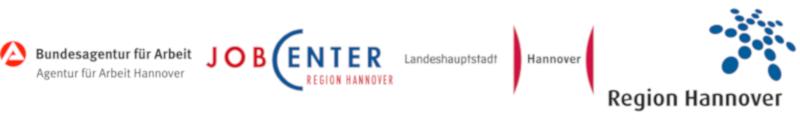 Logos der Bundesagentur für Arbeit Hannover, Jobcenter Region Hannover, Landeshauptstadt Hannover und Region Hannover.
